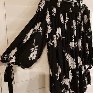 Off shoulder Black Floral Shirt